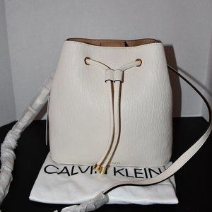 Calvin Klein Gabrianna Bucket Drawstring in White